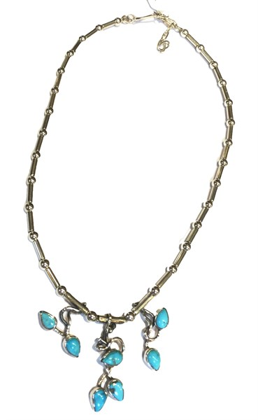 Necklace - Petite Vine - Sterling Silver & Turquoise - C-941