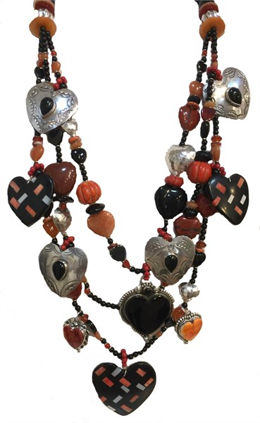 KY 1241 Three Strand Heart Necklace with Onyx, Spiny Oyster, Carnelian, Coral & Sterling Silver