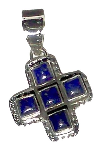 Pendant - Small Lapis Square Cross
