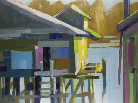 "Philip Frey | Patchwork Pier | Oil | 30"" X 40"" 