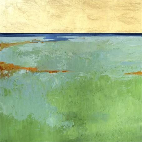 """Ellen Welch Granter   Castles   oil and gold leaf on panel   24"""" X 24""""   Sold"""