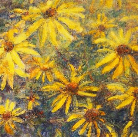 "Susan Wahlrab | Rudbeckia | Varnished Watercolor on Archival Clayboard | 16"" X 16"" 