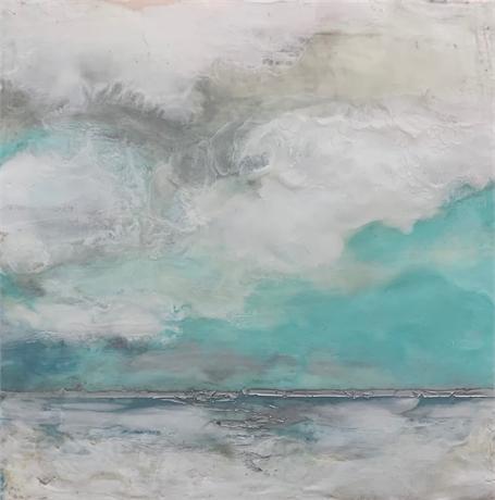 "Kathy Ostrander Roberts | Beyond Cape Porpoise | Encaustic | 12"" X 12"" | $525.00"