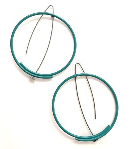 Earring: Medium-Large Circle in Teal