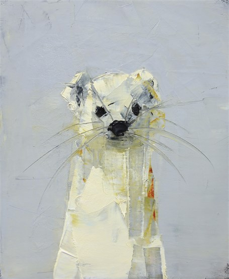 "Rebecca Kinkead | Ermine | Oil and Wax on Linen | 12"" X 10"" 