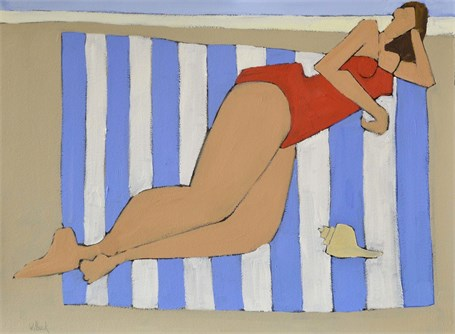 "David Witbeck | Woman in Red Bathing Suit | Oil on Paper | 22"" X 30"" 