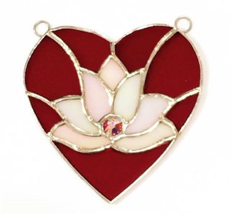 Stained Glass Lotus in Heart