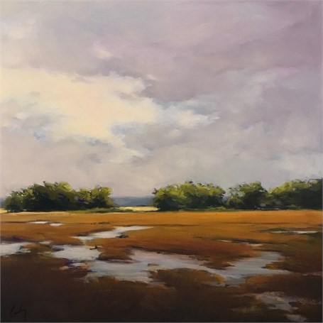 "Margaret Gerding | Violet Day at Marshall Point | Oil on Panel | 16"" X 16"" 