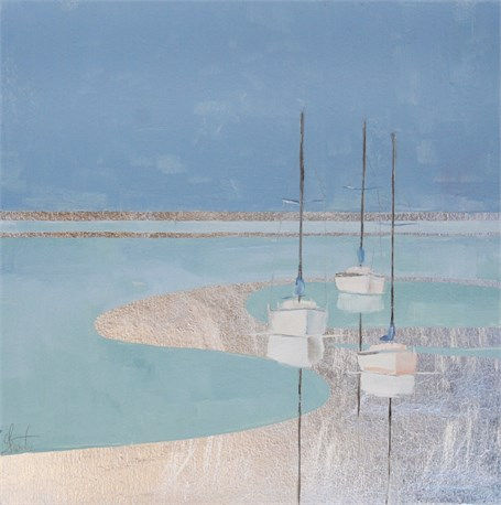 "Ellen Welch Granter | Silver Sails | Oil and Metal Leaf on Panel | 12"" X 12"" 