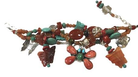 KY - 1238 Four strand Butterfly Bracelet, carnelian, spiny oyster, sterling