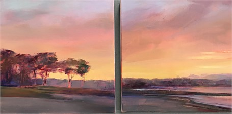 "Holly Ready | Sunset Silhouettes - Diptych | Oil on Canvas | 14"" X 28"" 
