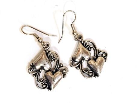 Earring - Double Filigree Hearts