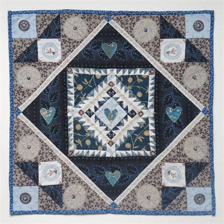 "Kate Adams | True Blue II - There are no words… | 19th century cotton cloth, metallic thread and glass beads | 10"" X 10"" 