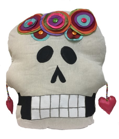 Pillow - Calavera Grande - Hand-painted canvas and sewn - Multi Color Applications
