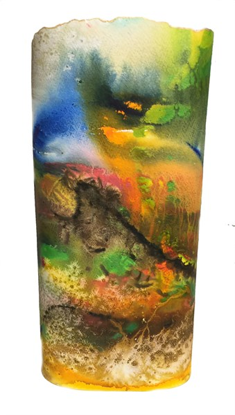 Lumen Art Lamp - Hand Painted Paper - Southwest Spires