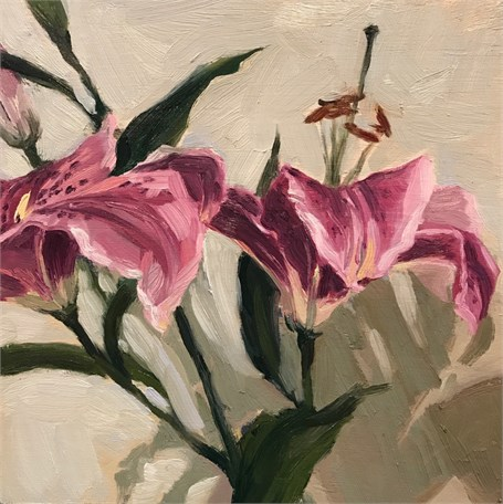 "Margaret Gerding | Day 16 (Lilies) | Oil on Panel | 8"" X 8"" 