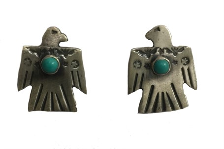 Earring - Sterling Silver Thunderbird With Turquoise
