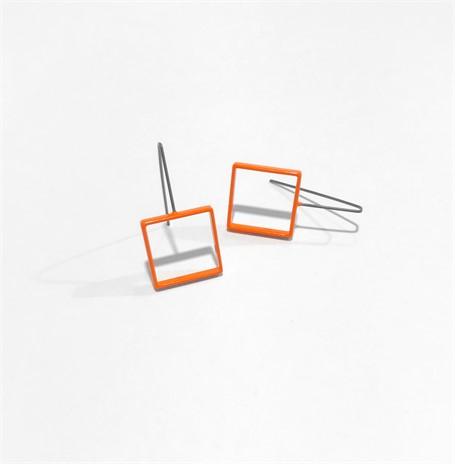 Powder Coated Earrings: Medium Orange Square