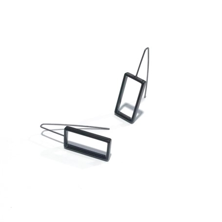 Powder Coated Earrings: Large Black Rectangle