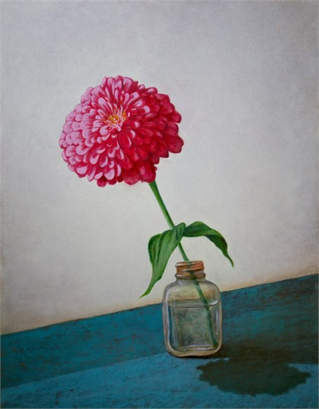 "Alex Dunwoodie | Pink Zinnia | Oil on Board | 14"" X 11"" 