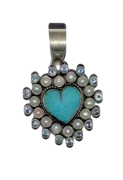 Pendant - Sterling Silver Turquoise Heart with Pearls & Blue Topaz