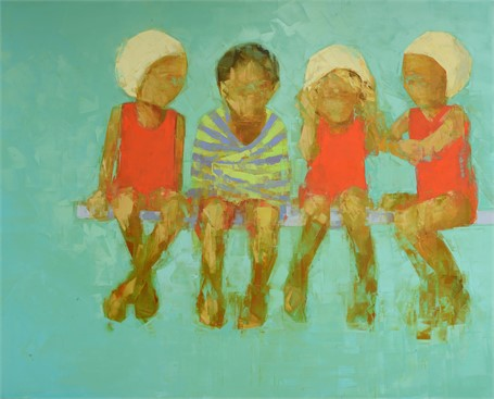 "Rebecca Kinkead | Swim Team (White Caps) | Oil and Wax on Linen | 54"" X 68"" 
