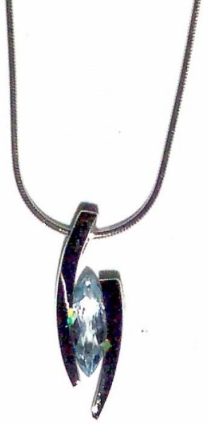 Pendant - Sterling Silver & Marquis Blue Topaz - Floating JVP4486BT