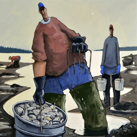 "David Witbeck | Clammers | Oil on Canvas | 30"" X 30"" 