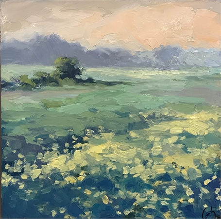 "Margaret Gerding | Spring Fields | Oil on Panel | 10"" X 10"" 