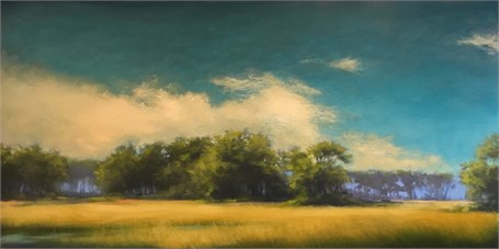 "Margaret Gerding | Color Burst | Oil on Panel | 24"" X 48"" 