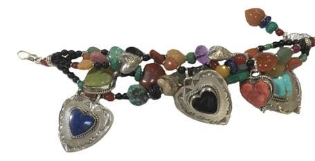 KY 1234 - Four strand bracelet, Black onyx, Turquoise, Lapis, Agate,
