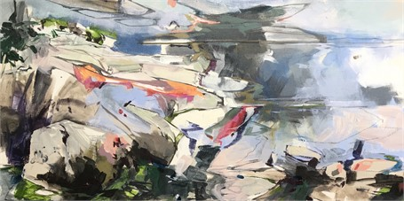 "Jeffrey T. Fitzgerald | Marginal Way: Woodbury Lessons | Acrylic on Canvas | 18"" X 36"" 