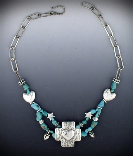 Necklace - Silver & Turquoise Collar-A silver cross with heart and star centerpiece are complimented by two smaller hearts and stars, silver ball donuts, and turquoise nuggets.  #30534