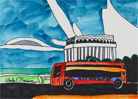 Bus at Lincoln Memorial