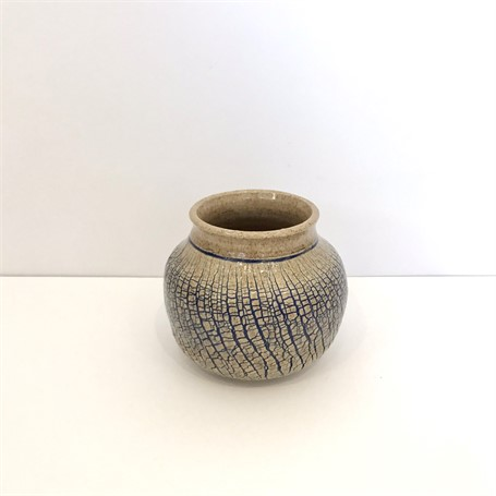 "Richard Winslow | Blue Crackle Pot  | Ceramic | 6"" X 7"" 