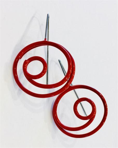 Earrings: Medium Red Circle in Cirlce