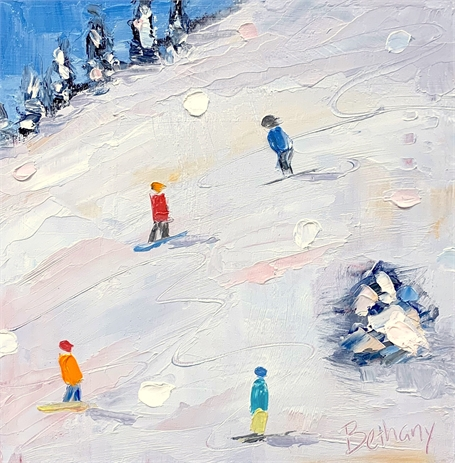 "Bethany Harper Williams | Hit the Slopes | Oil on Canvas | 8"" X 8"" 