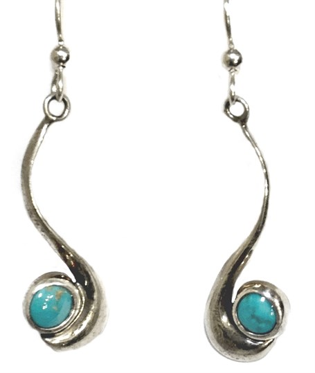 Earrings - Sterling Silver French Dyer Blue Dots E-872