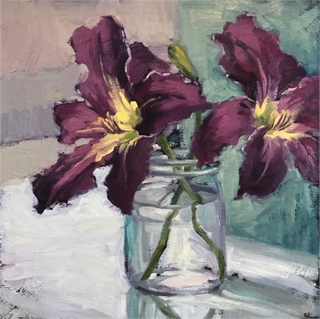 "Margaret Gerding | Day 1 (Lilies) | Oil on Panel | 14"" X 14"" 