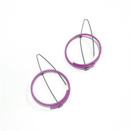 Powder Coated Earrings: Medium Circle in Purple