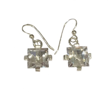 Earrings - Sterling Silver Square Dangles Clear Quartz E-915