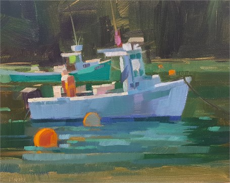 "Philip Frey | Boats and Moorings | Oil on Panel | 8"" X 10"" 