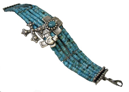 Bracelet - Crosses in Turquoise- A silver multi-cross center with turquoise cabochon is bordered by rows of turquoise hishi and balled donut closure bars. #30529