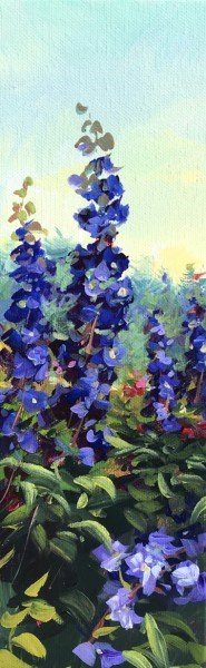 "Sandra L. Dunn | Deep Violet Delphinium | Oil on Canvas | 12"" X 4"" 