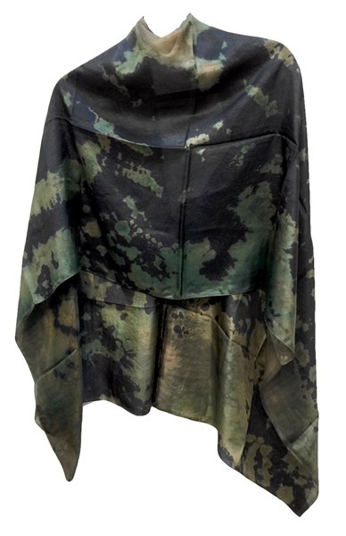 Poncho - Reverse Shibori - Shades of Green to Black
