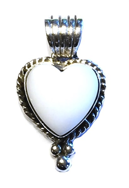 Pendant - Small White Agate Heart w/Sterling Silver