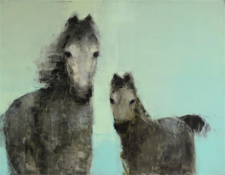 "Rebecca Kinkead | Mare and Foal | Oil and Wax on Linen | 42"" X 54"" 