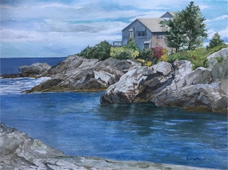 "Karen McManus | Narrow Ogunquit Cove | Watercolor on Canvas | 11.5"" X 15"" 