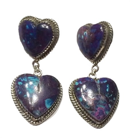 Earrings - Mohave Turquoise Hearts