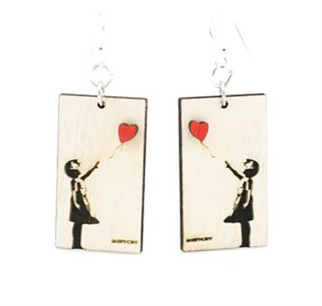 Earrings - Banksy Floating Away 1511
